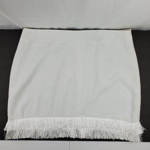 Fashion Union white fringed mini skirt 14